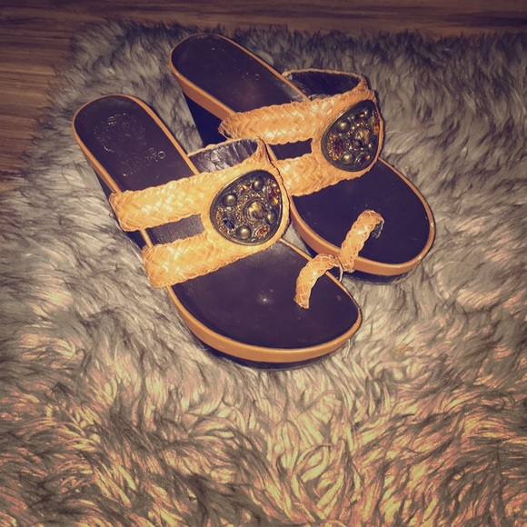 Vince Camuto Shoes - Camel wedges with blinged out and braided straps